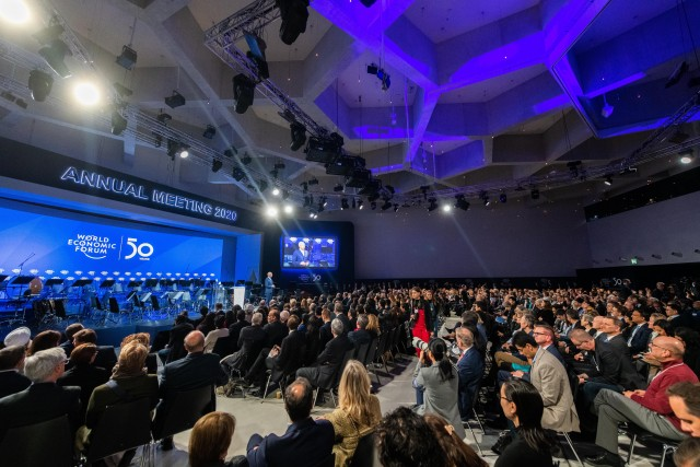 Klaus Schwab, Founder and Executive Chairman, World Economic Forum, speaking in the Welcome Message session at the World Economic Forum Annual Meeting 2020 in Davos-Klosters, Switzerland, 20 January. Congress Centre - Congress Hall. Copyright by World Economic Forum/Mattias Nutt